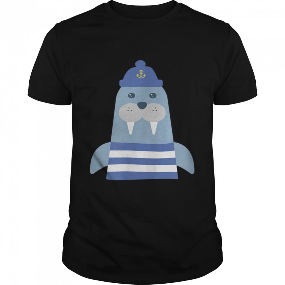 Walruss Seaman Maritime Captain Sailors Skipper with Boats shirt Classic Men's T-shirt