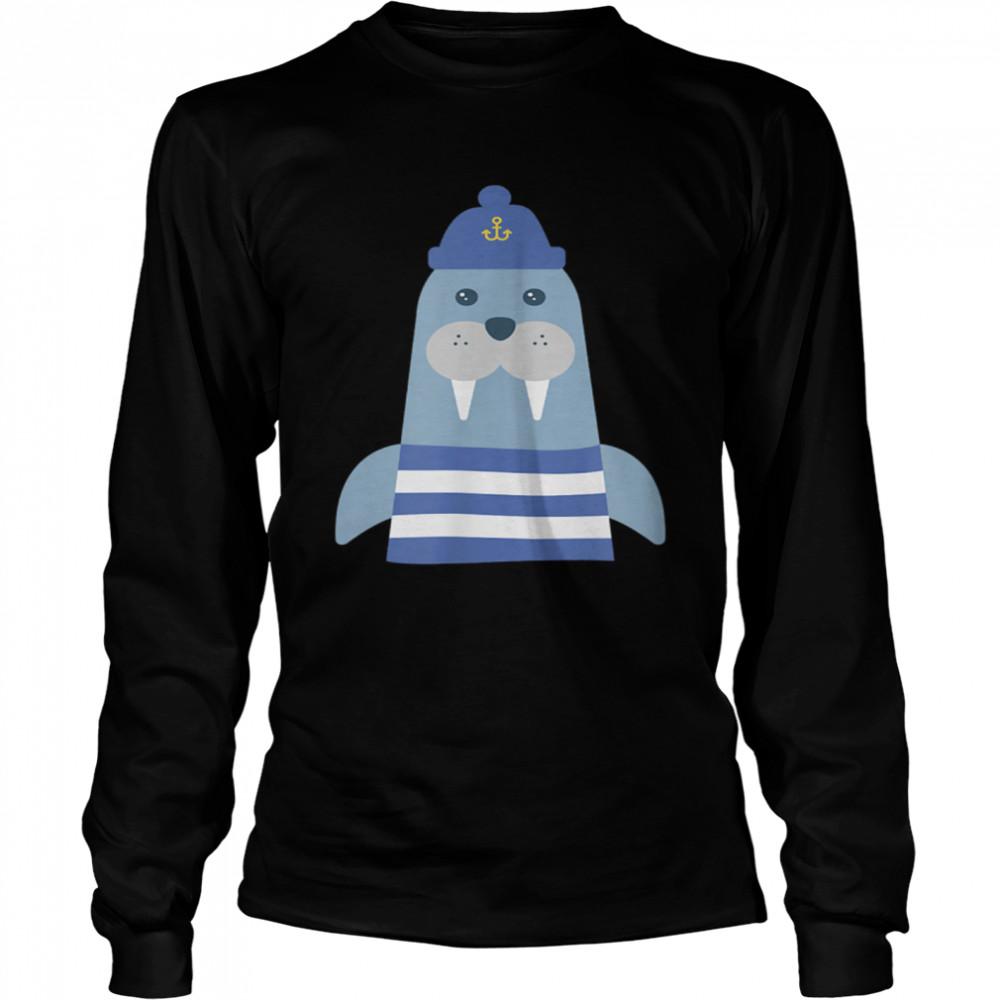 Walruss Seaman Maritime Captain Sailors Skipper with Boats shirt Long Sleeved T-shirt