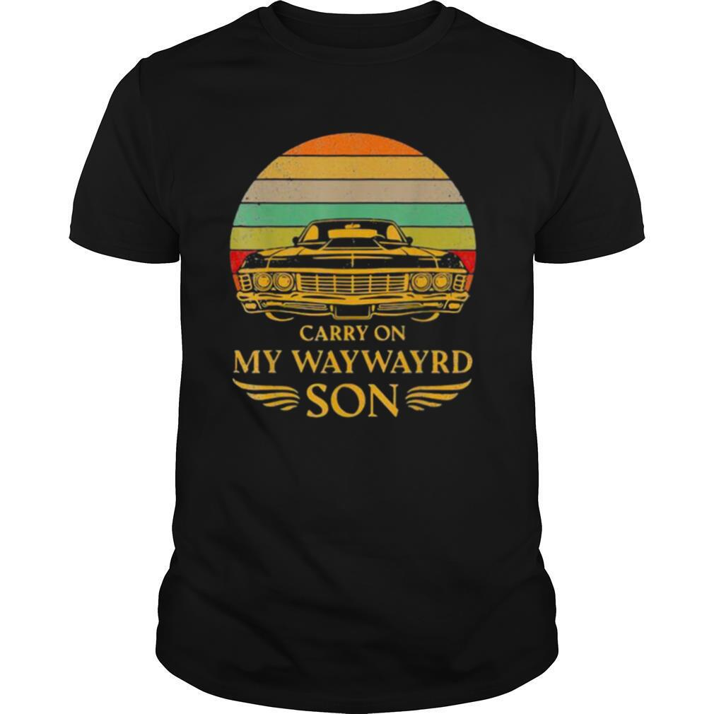 Carry On My Waywayrd Son Car Vintage Sunset shirt Classic Men's