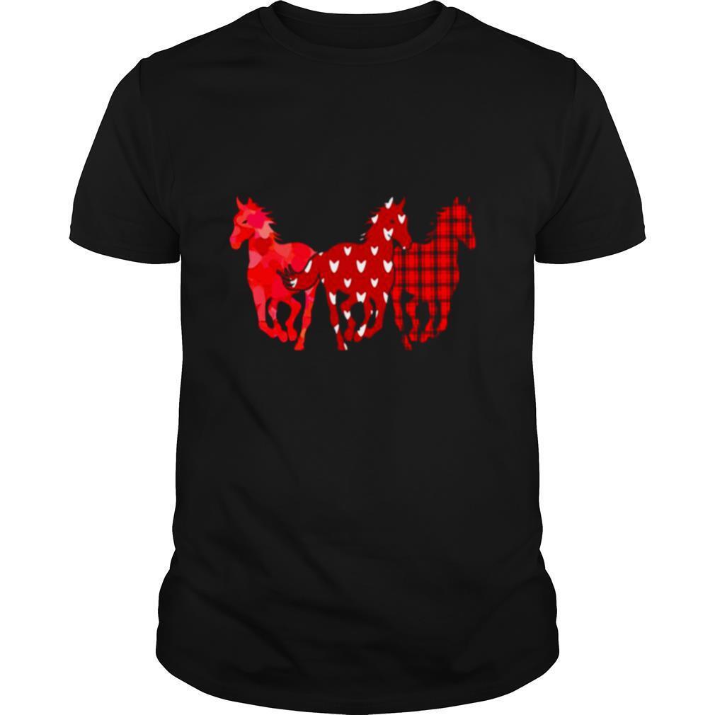 Three Horse Happy Valentine 2021 Plaid shirt Classic Men's