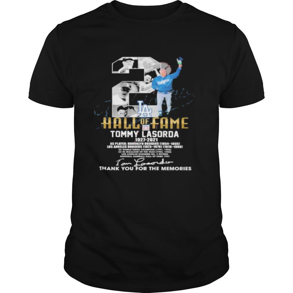 hall of fame tommy lasorda 1927 2021 thank you for the memories shirt Classic Men's
