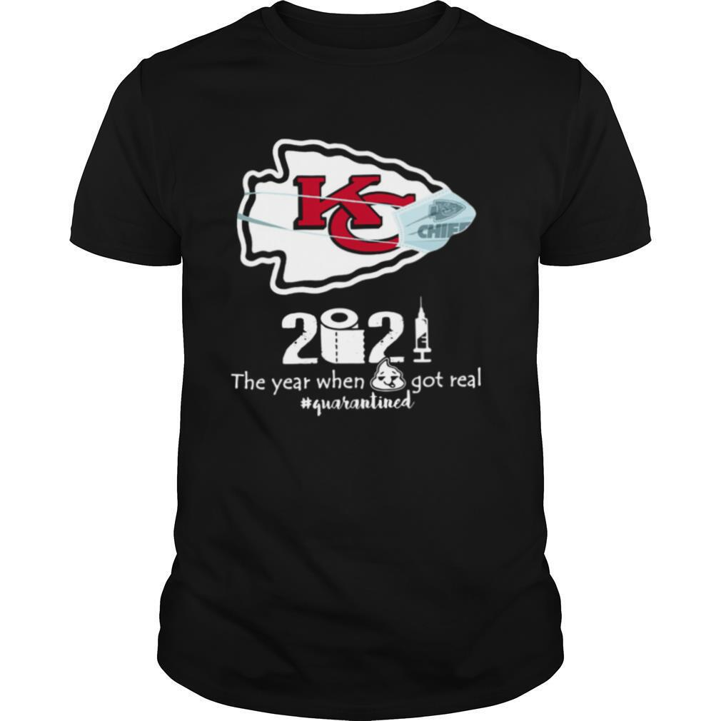 Kansas City Chiefs face mask 2021 toilet paper the year when got real quanrantined shirt Classic Men's