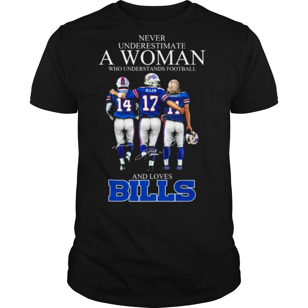 Never underestimate a woman who understands football and loves Bills Diggs Allen Basley signatures shirt Classic Men's