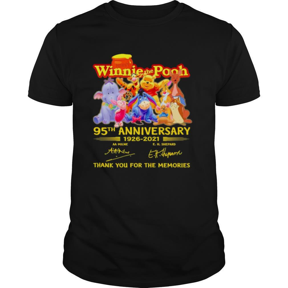 The Winnie The Pooh Characters 95th Anniversary 1926 2021 Signatures Thank shirt Classic Men's