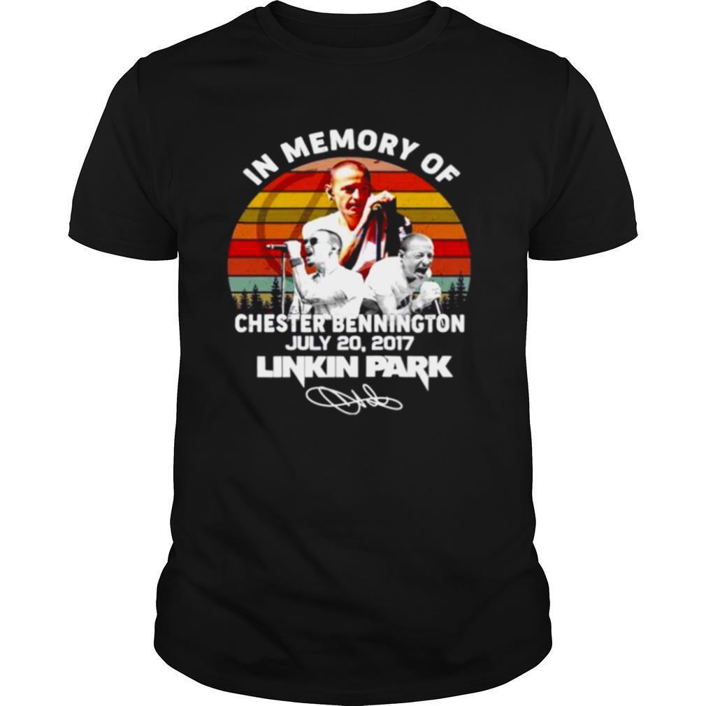In memory of chester bennington july 20 2017 Linkin Park vintage signature shirt Classic Men's