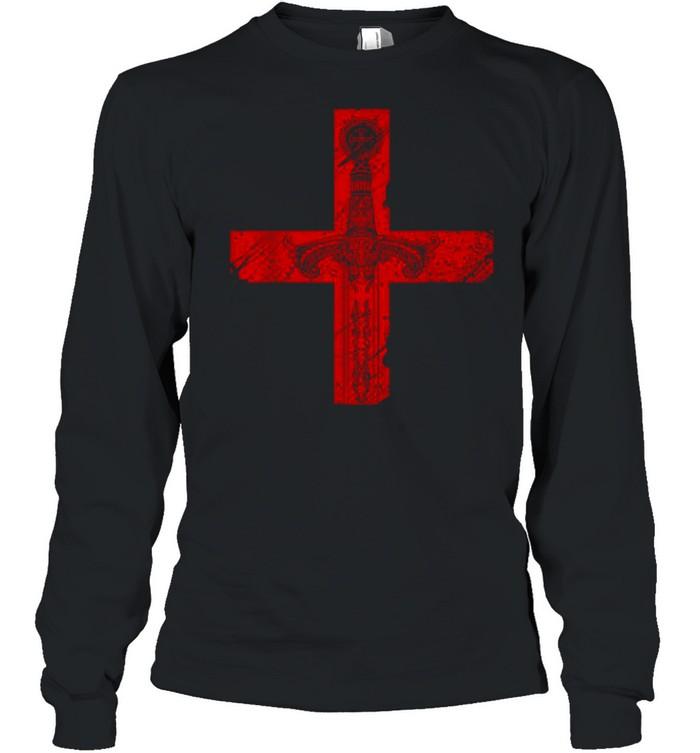 Knight Templar Sword And Cross shirt Long Sleeved T-shirt