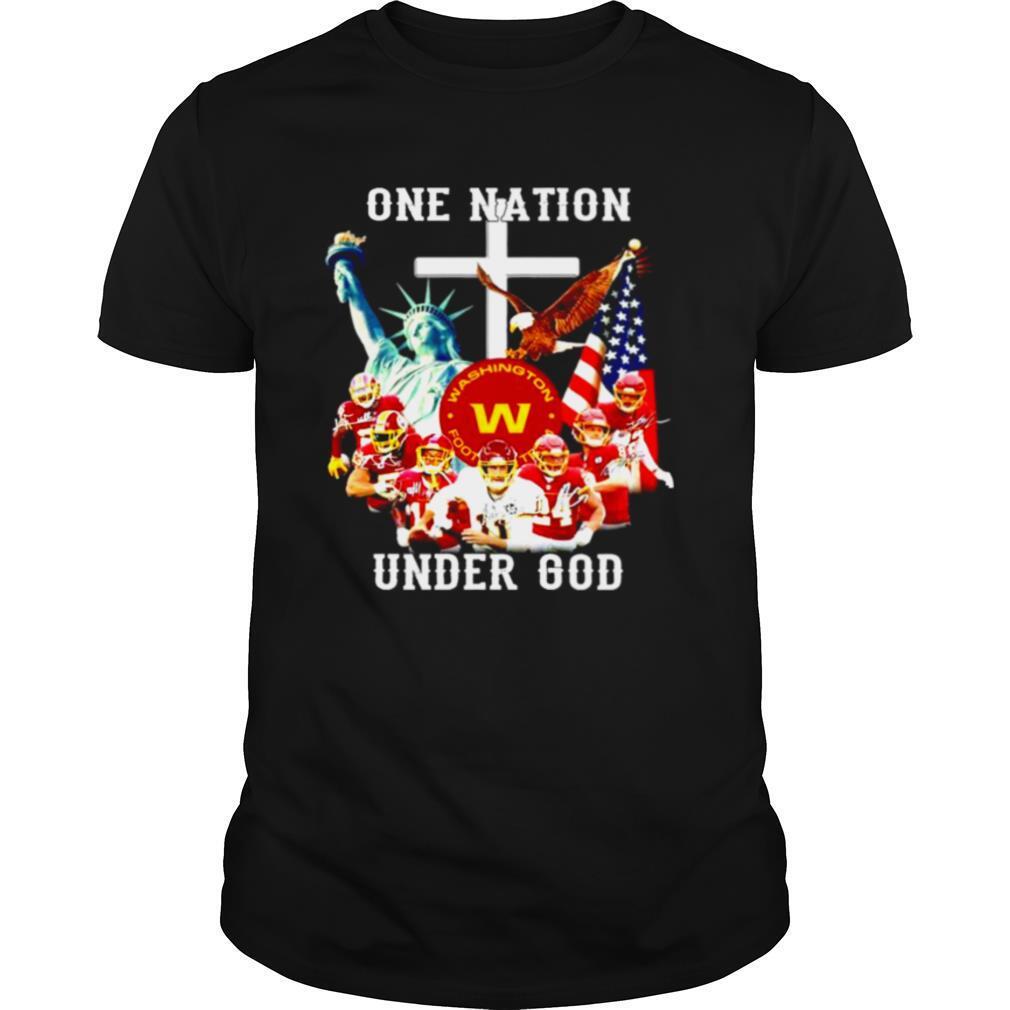 One nation under god Washington football team signatures shirt Classic Men's