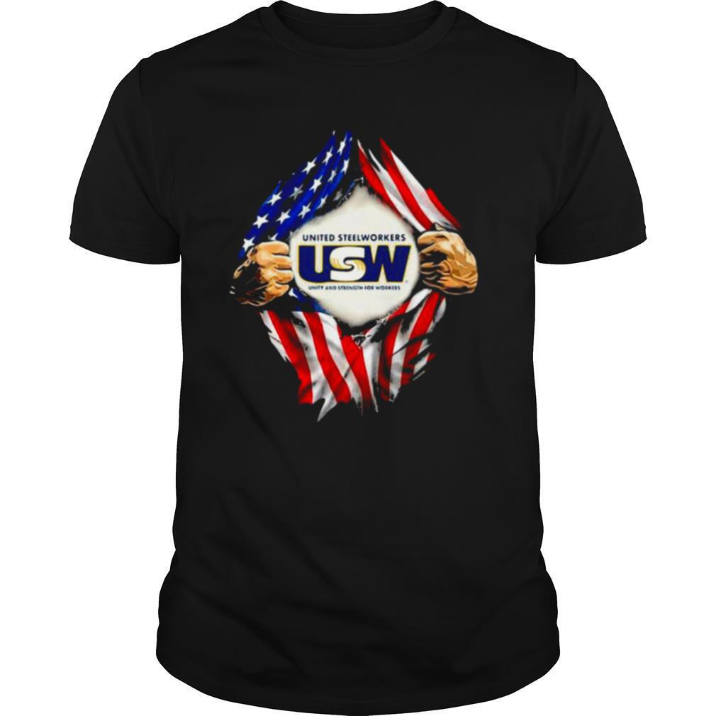 Superman United Steelworkers Unity And Strength For Workers American Flag shirt Classic Men's