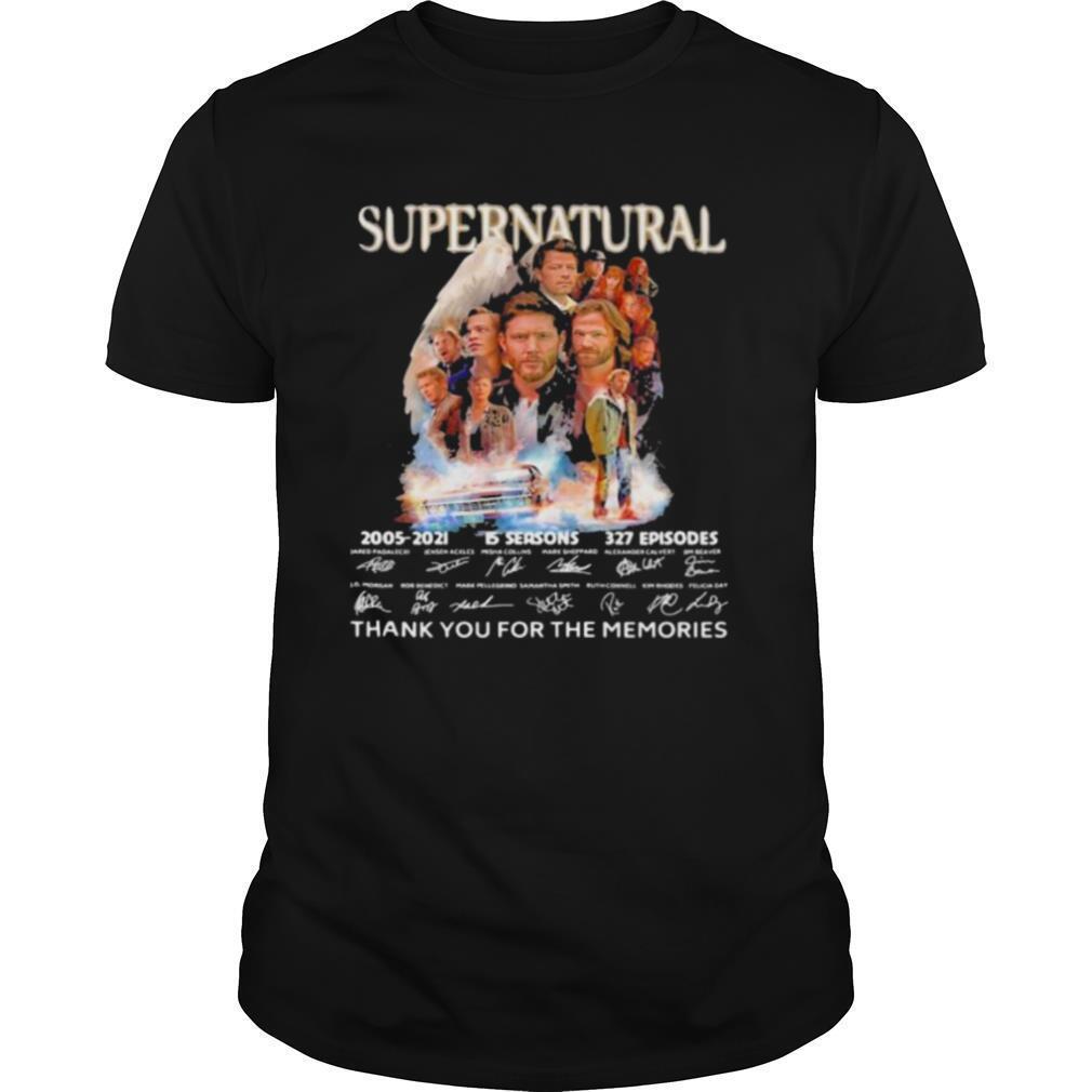 Supernatural 15 Seasons 2005 2021 16 Years Of Thank You For The Memories Signature shirt Classic Men's