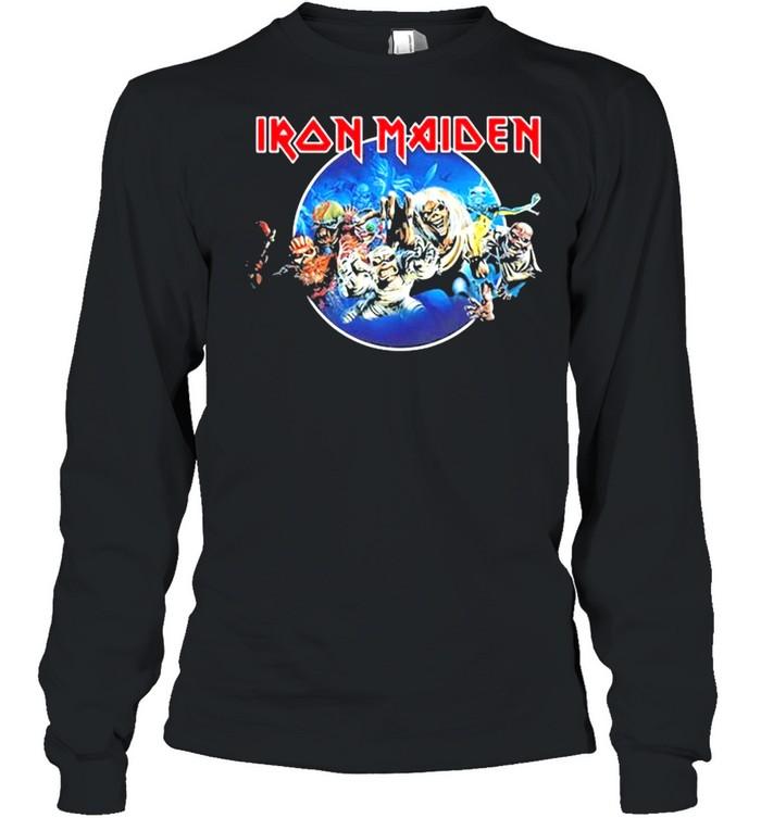 Iron Maiden 'Wasted Years Circle' shirt Long Sleeved T-shirt
