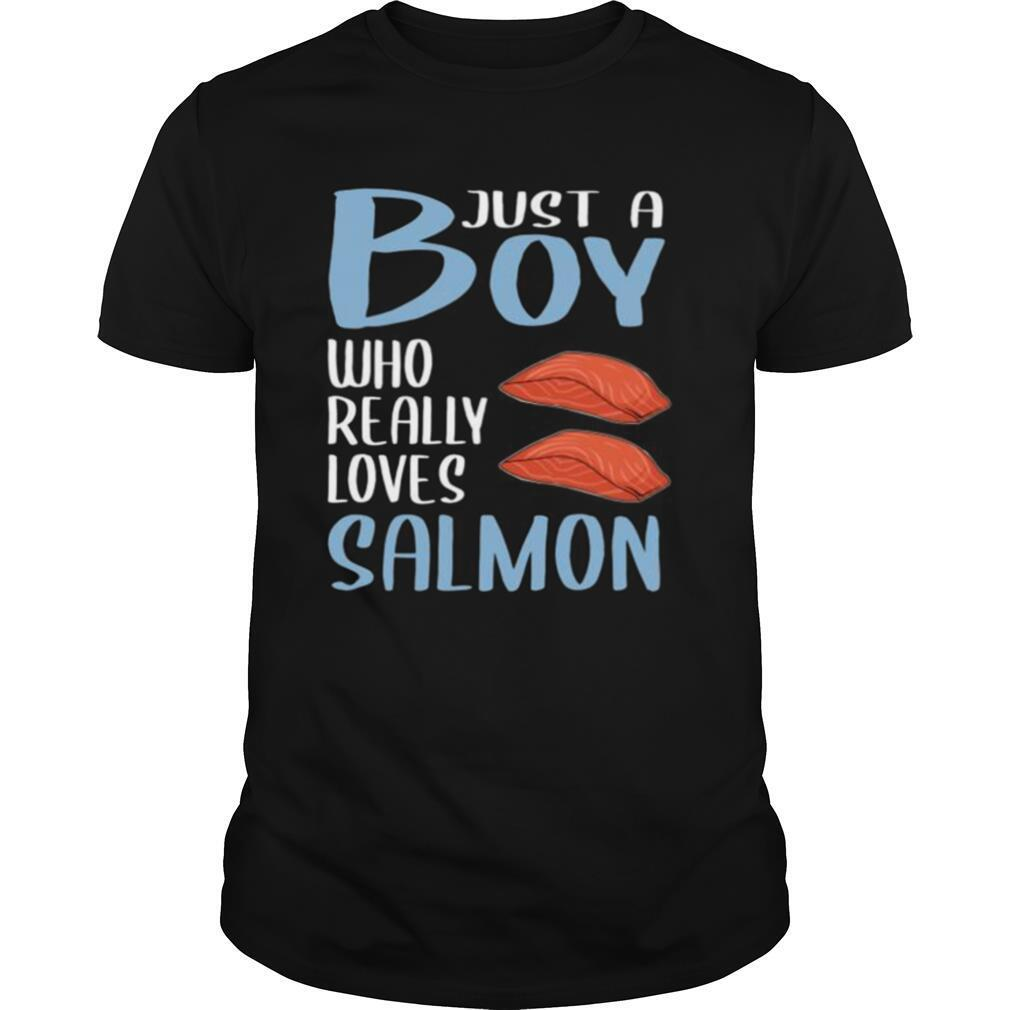 Mens BBQ Just A Boy Who Really Loves Salmon shirt Classic Men's