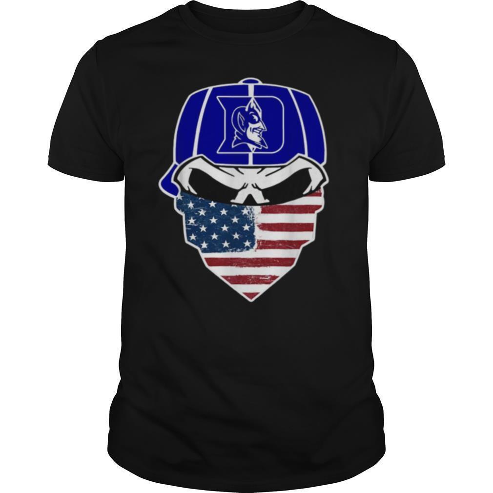 Skull Face Mask American Flag Hat Duke Blue Devils shirt Classic Men's
