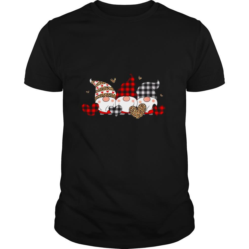 Womens Three Gnomes Holding Hearts Valentines Day Red Buffalo Plaid shirt Classic Men's