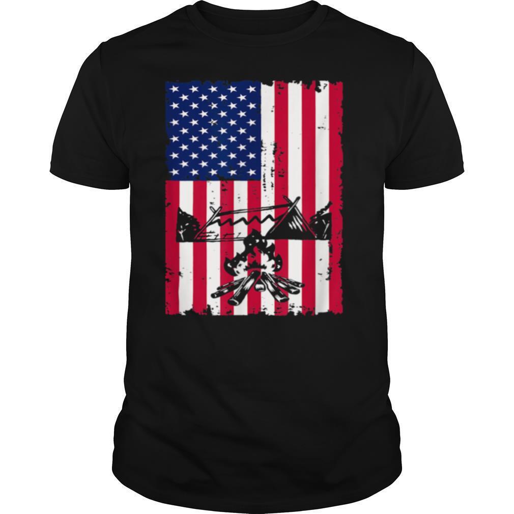 Camping American Flag Camper Campsite shirt Classic Men's