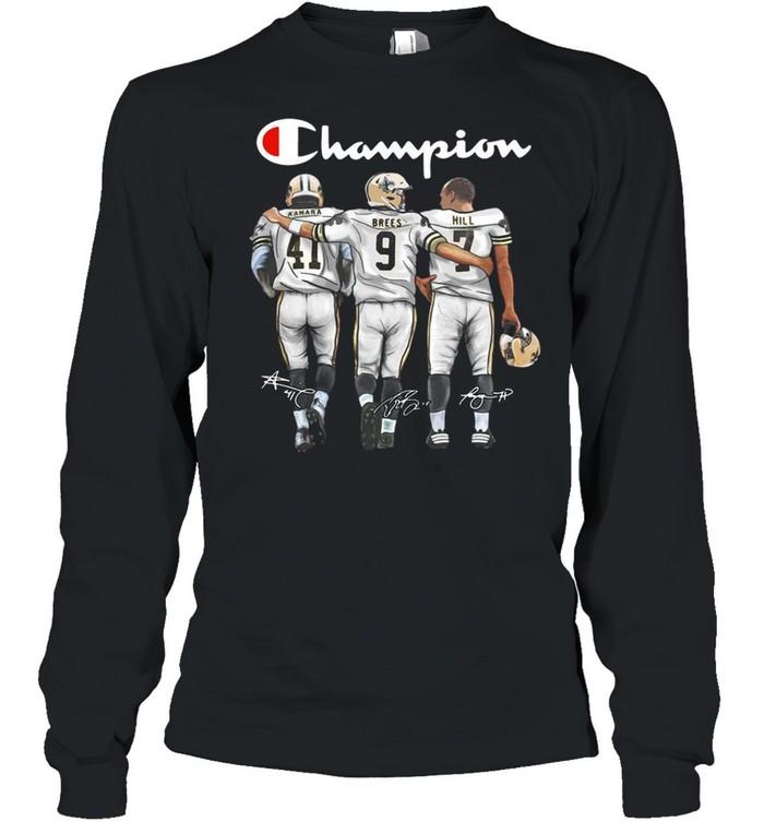 New Orleans Saints Champion Kamara Brees Hill signatures shirt Long Sleeved T-shirt