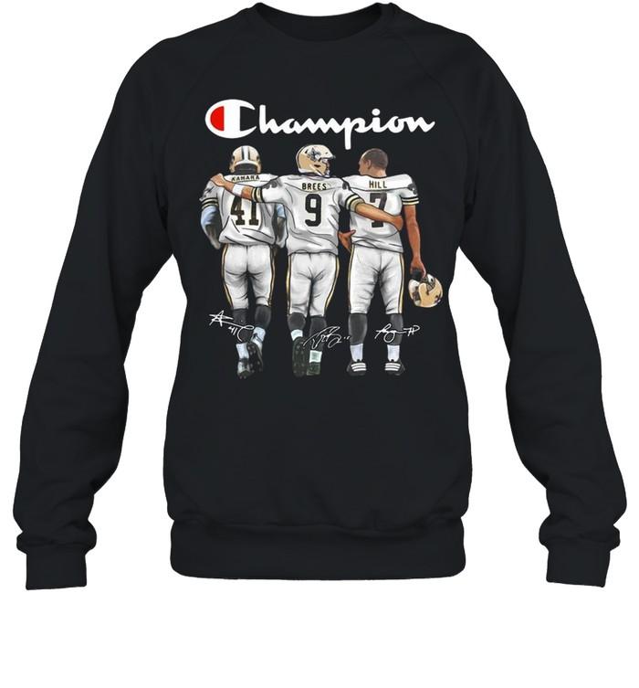 New Orleans Saints Champion Kamara Brees Hill signatures shirt Unisex Sweatshirt