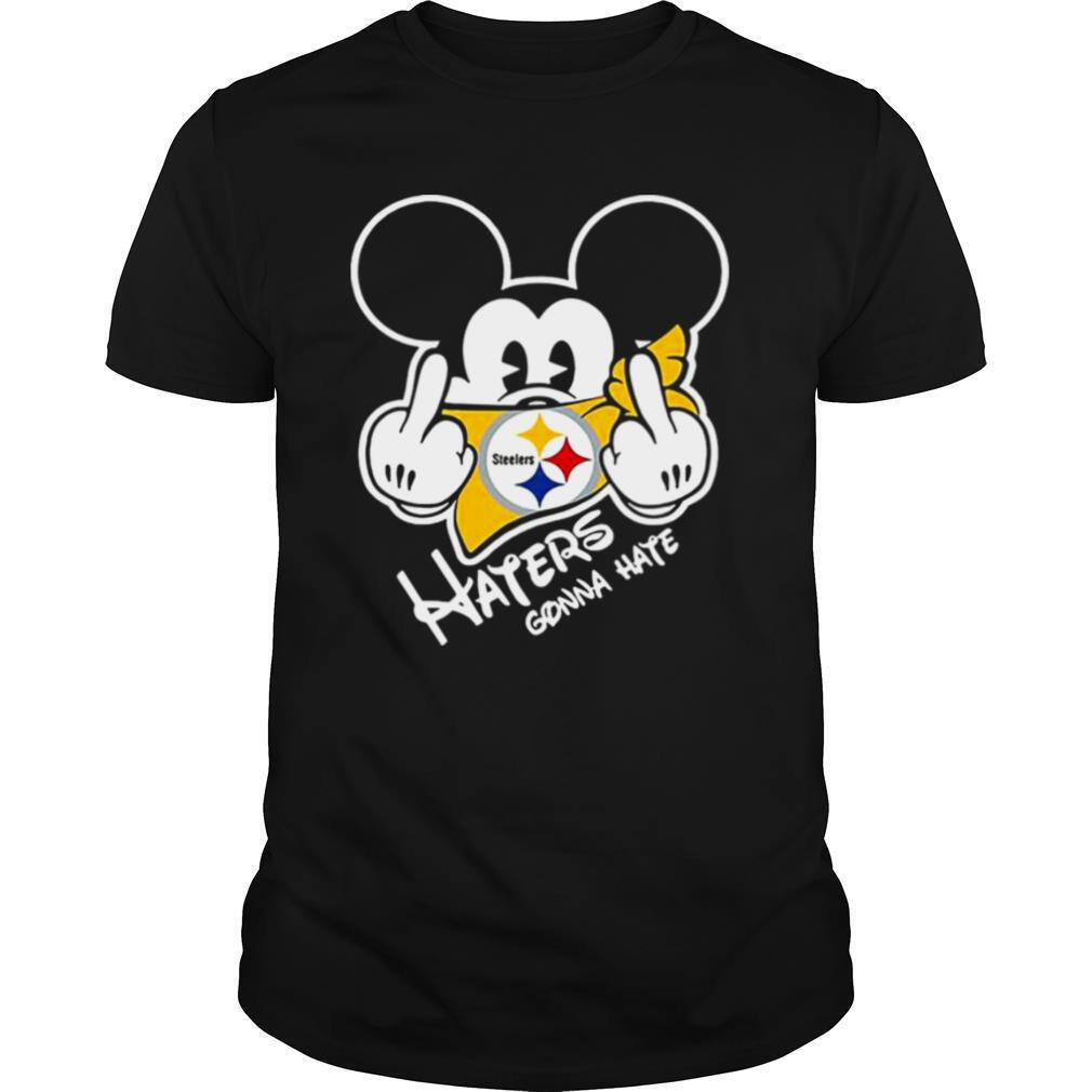 NFL Mickey Mouse Face Mask Pittsburgh Steelers Fuck Haters Gonna Hate shirt Classic Men's