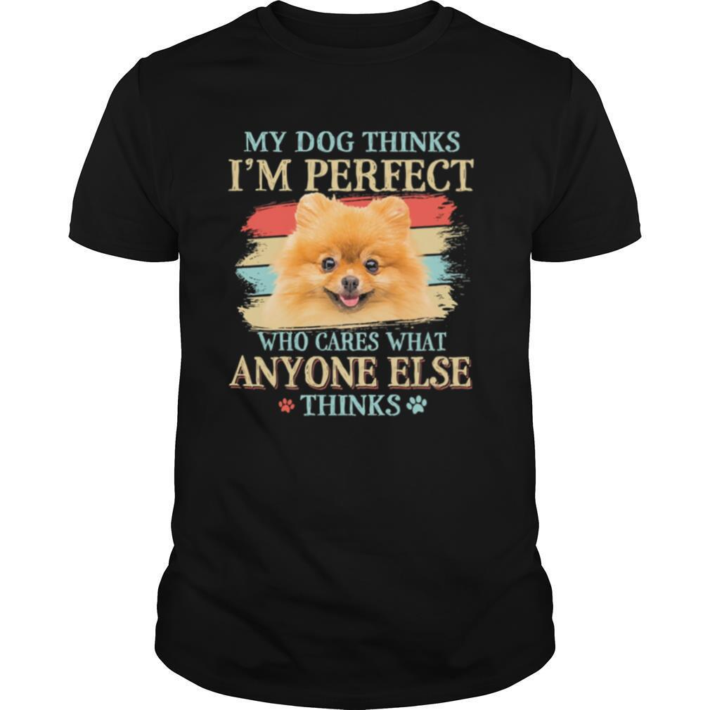 Pomeranian my dog thinks Im perfect who cares what anyone else thinks shirt Classic Men's
