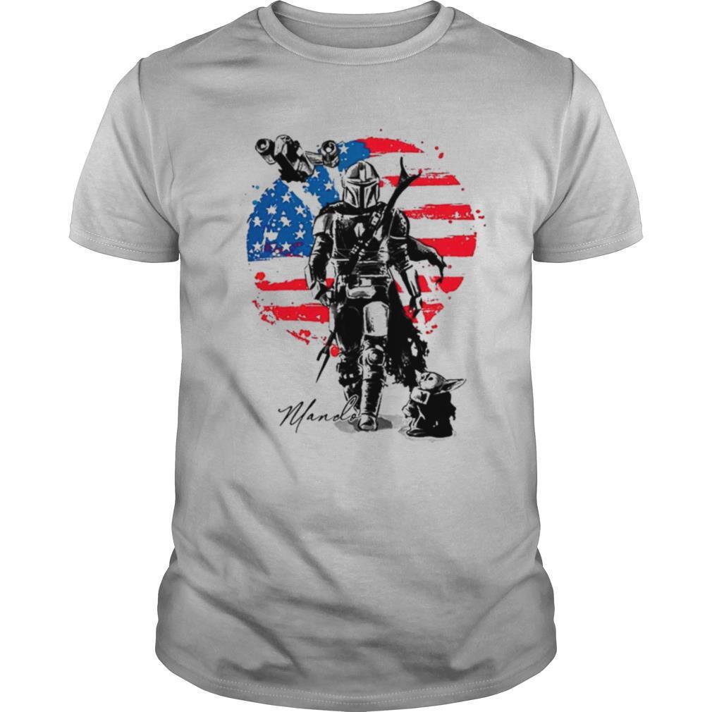 The mandalorian and baby yoda flag american shirt Classic Men's