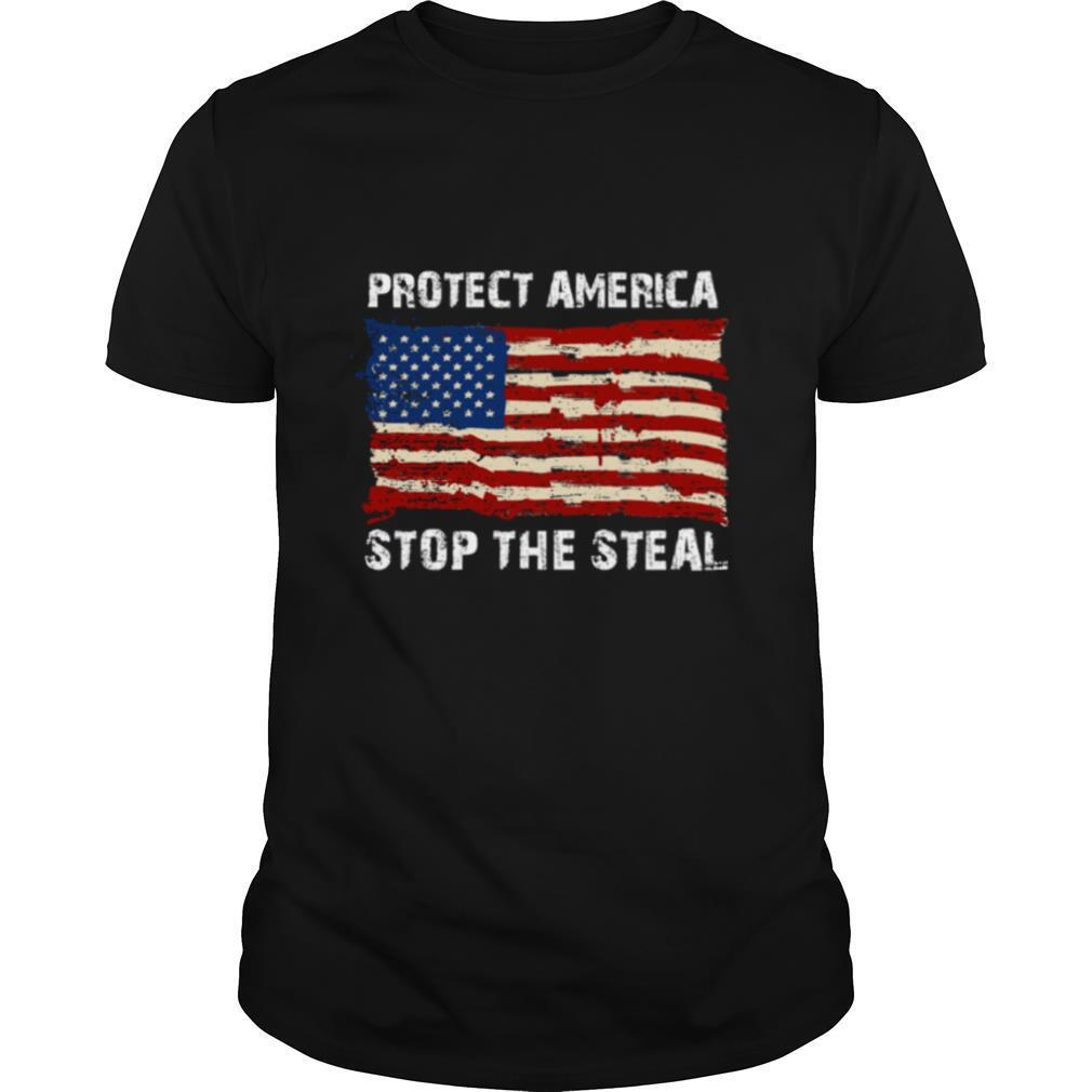 Protect America Stop The Steal Voter Fraud Trump 2020 Us Flag shirt Classic Men's