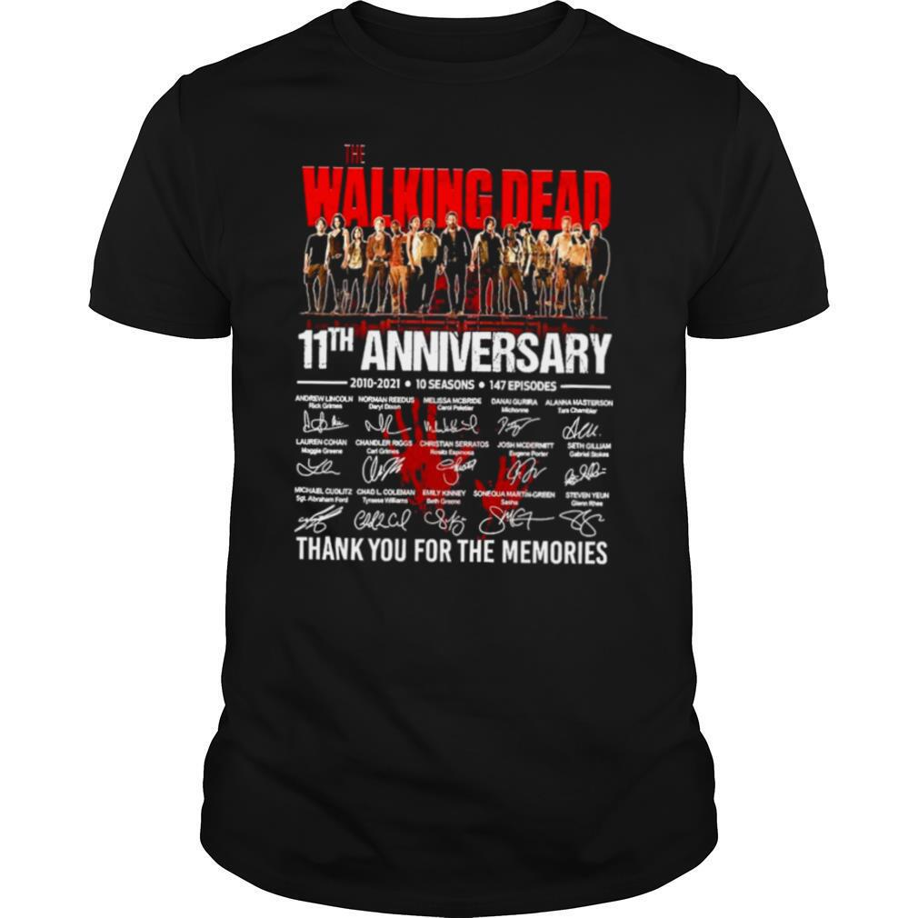 The Walking Dead 11th Anniversary 2010 2021 10 Seasons 147 Episodes Thank You For The Memories Signatures shirt Classic Men's
