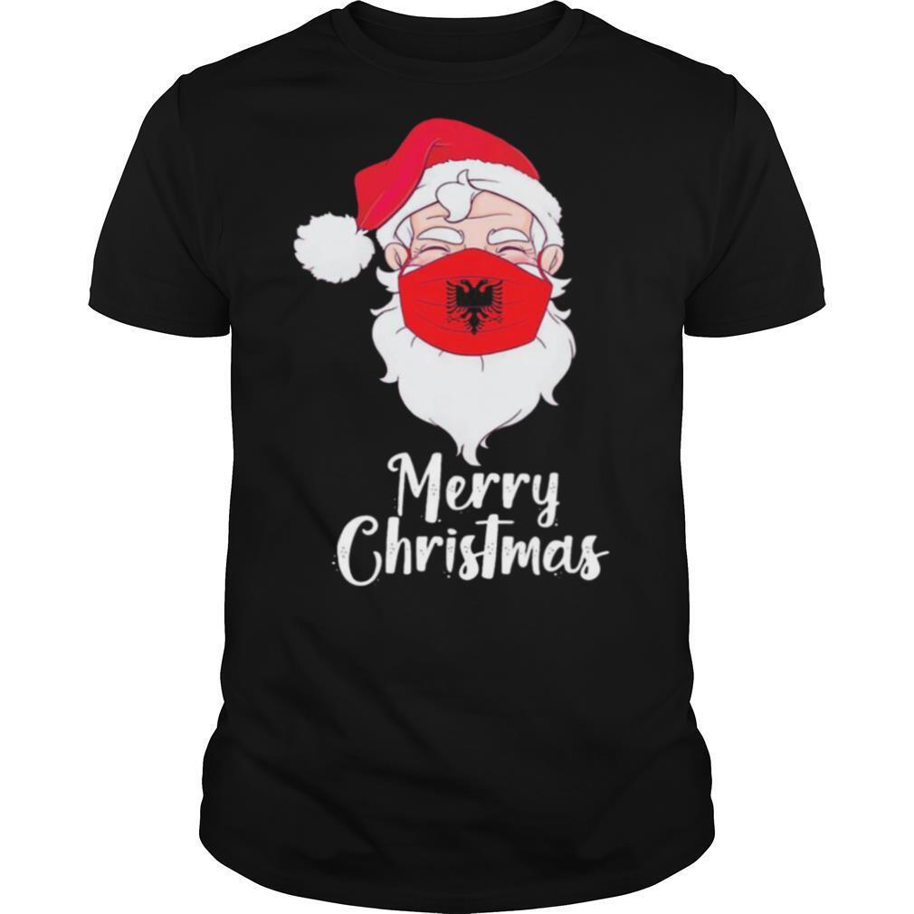 Santa Claus Face Mask Albania Flag Merry Christmas shirt Classic Men's