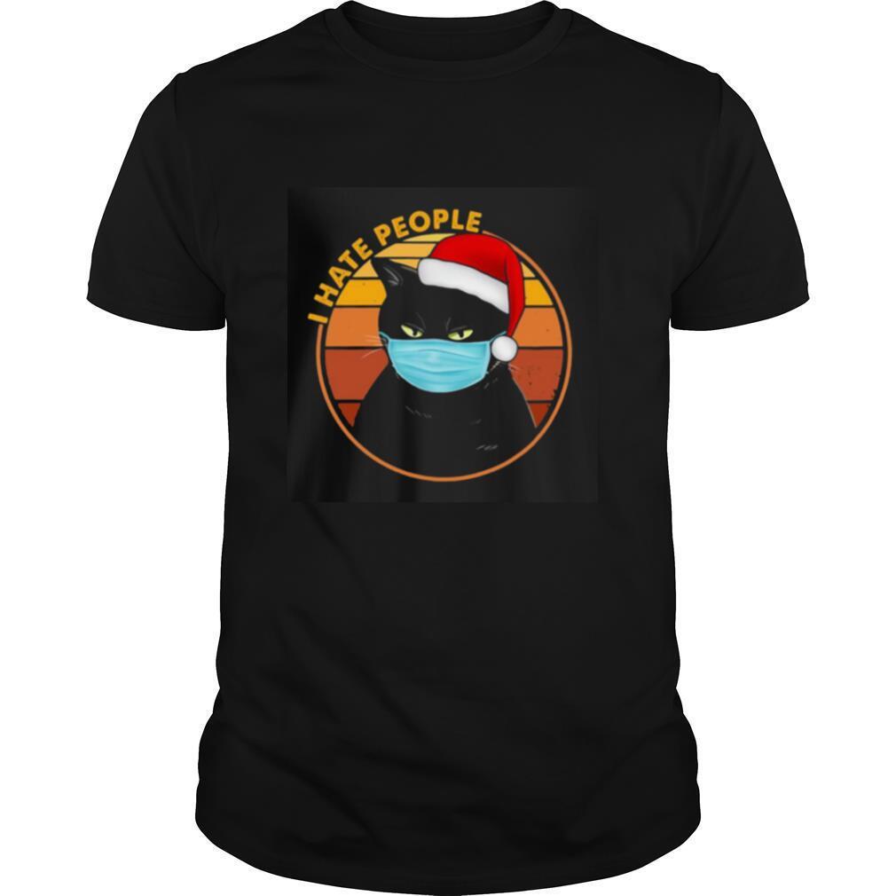 Black Cat quarantine I hate people sunset t shirt Classic Men's