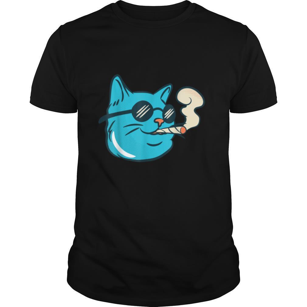 Stoned Cat Smoking Joint 420 Gift Weed Cannabis Marijuana T shirt Classic Men's