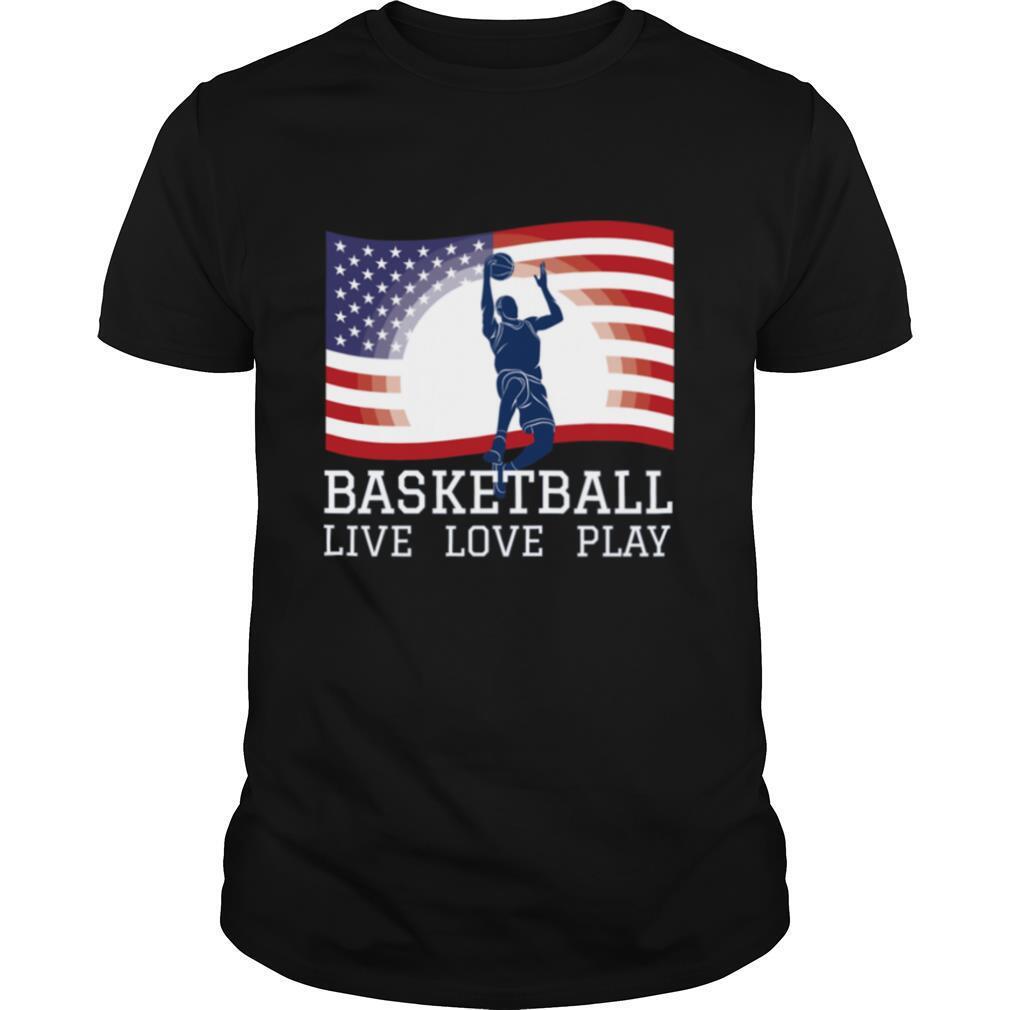 Basketball Live Love Play American Flag Sports shirt Classic Men's