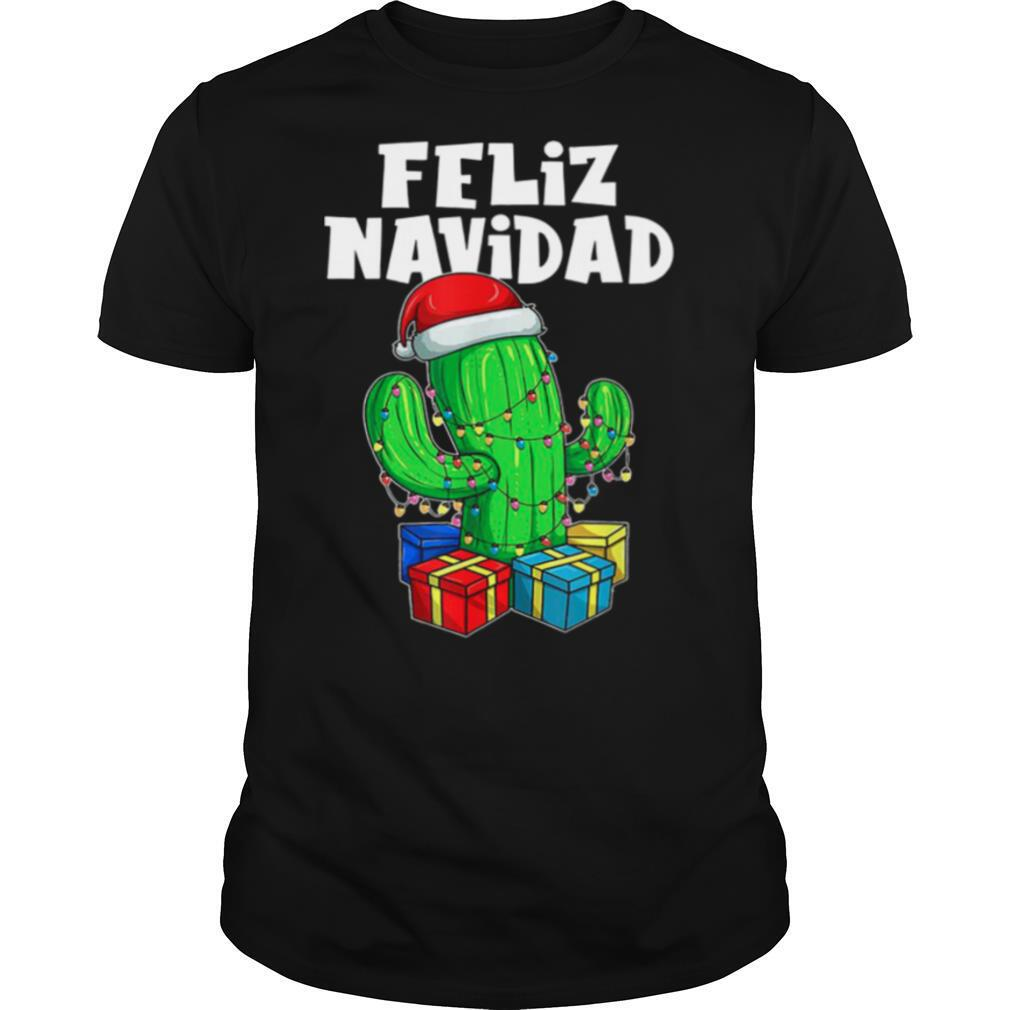 Funny Feliz Navidad Cactus Tree Lights Spanish Pajama Christmas shirt Classic Men's