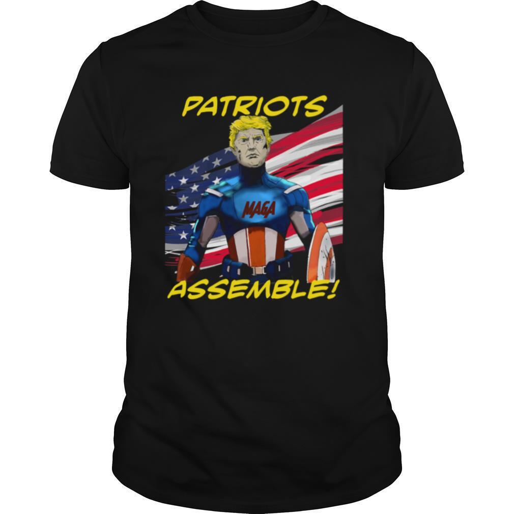 Patriots Assemble Donald Trump Maga American Flag shirt Classic Men's