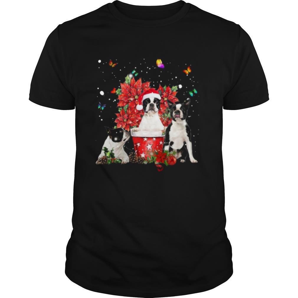Cute Boston Terrier With Poinsettia Flower Christmas shirt Classic Men's