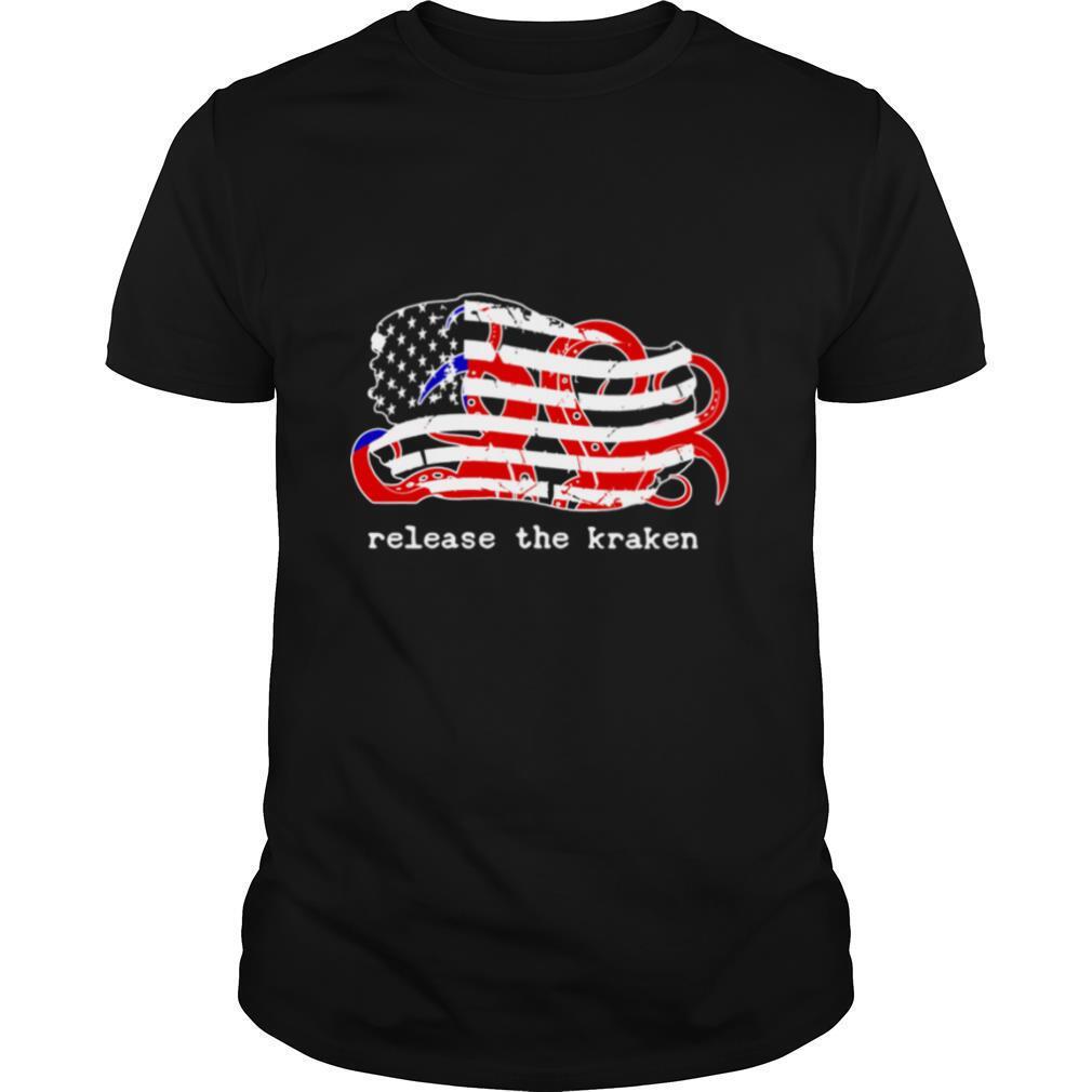 Release The Kraken Red White Blue Distressed American Flag shirt Classic Men's
