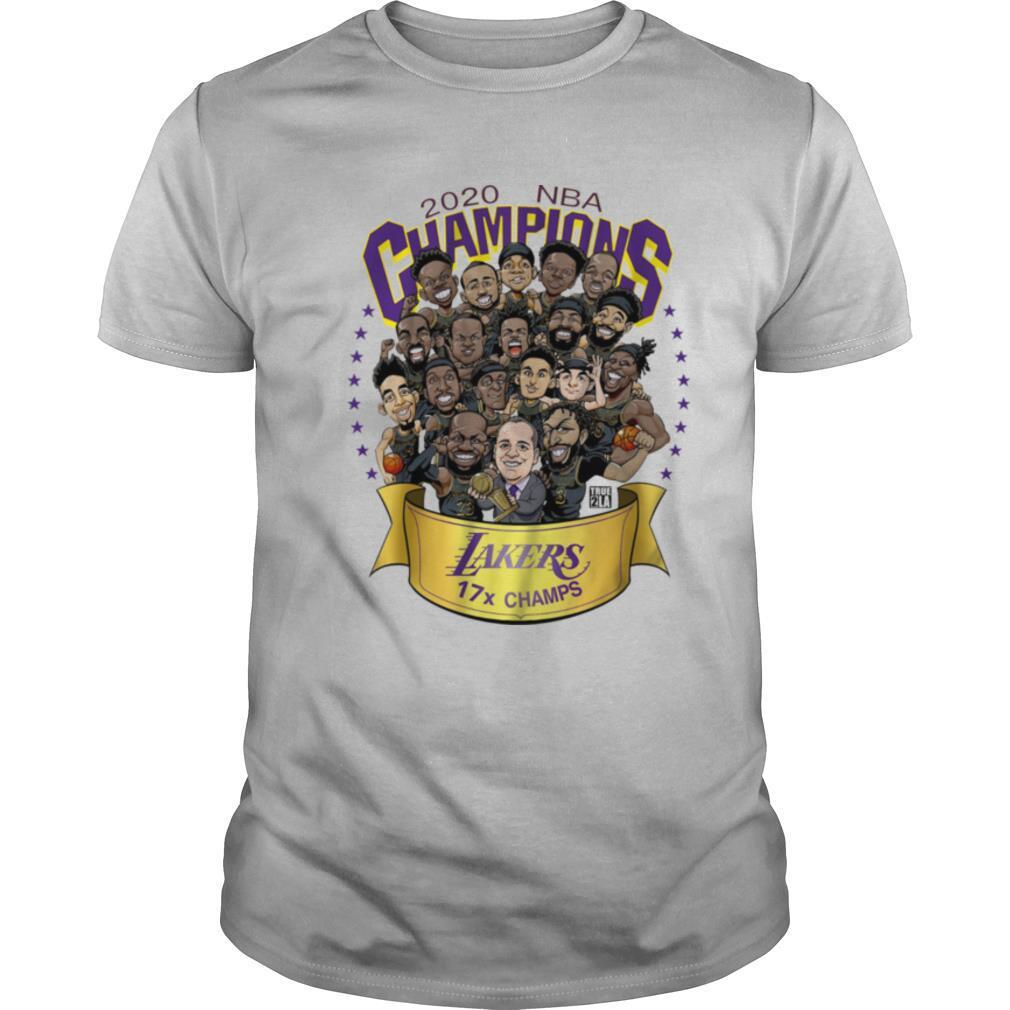 2020 NBA Champions Los Angeles Lakers 17 Champs Cartoon shirt Classic Men's