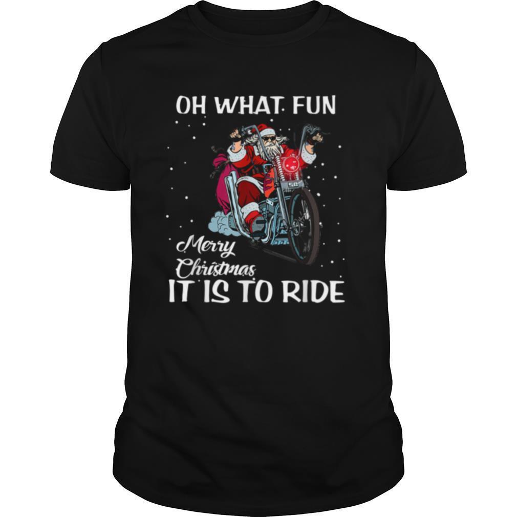 Biker Santa Motorcycle Fan Merry Christmas shirt Classic Men's