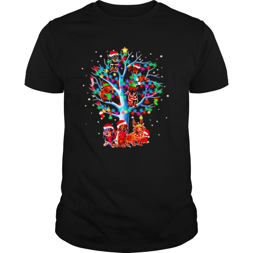 Dachshund Santa Tree Light Merry Christmas shirt Classic Men's