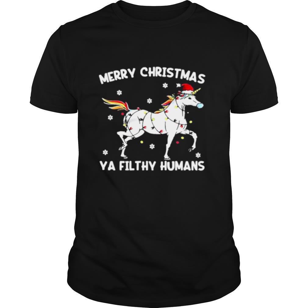 Merry christmas ya filthy humans unicorn fairy light shirt Classic Men's