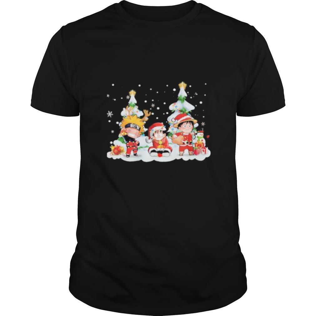 Chibi Naruto Son Goku and Monkey D Luffy Merry Christmas shirt Classic Men's