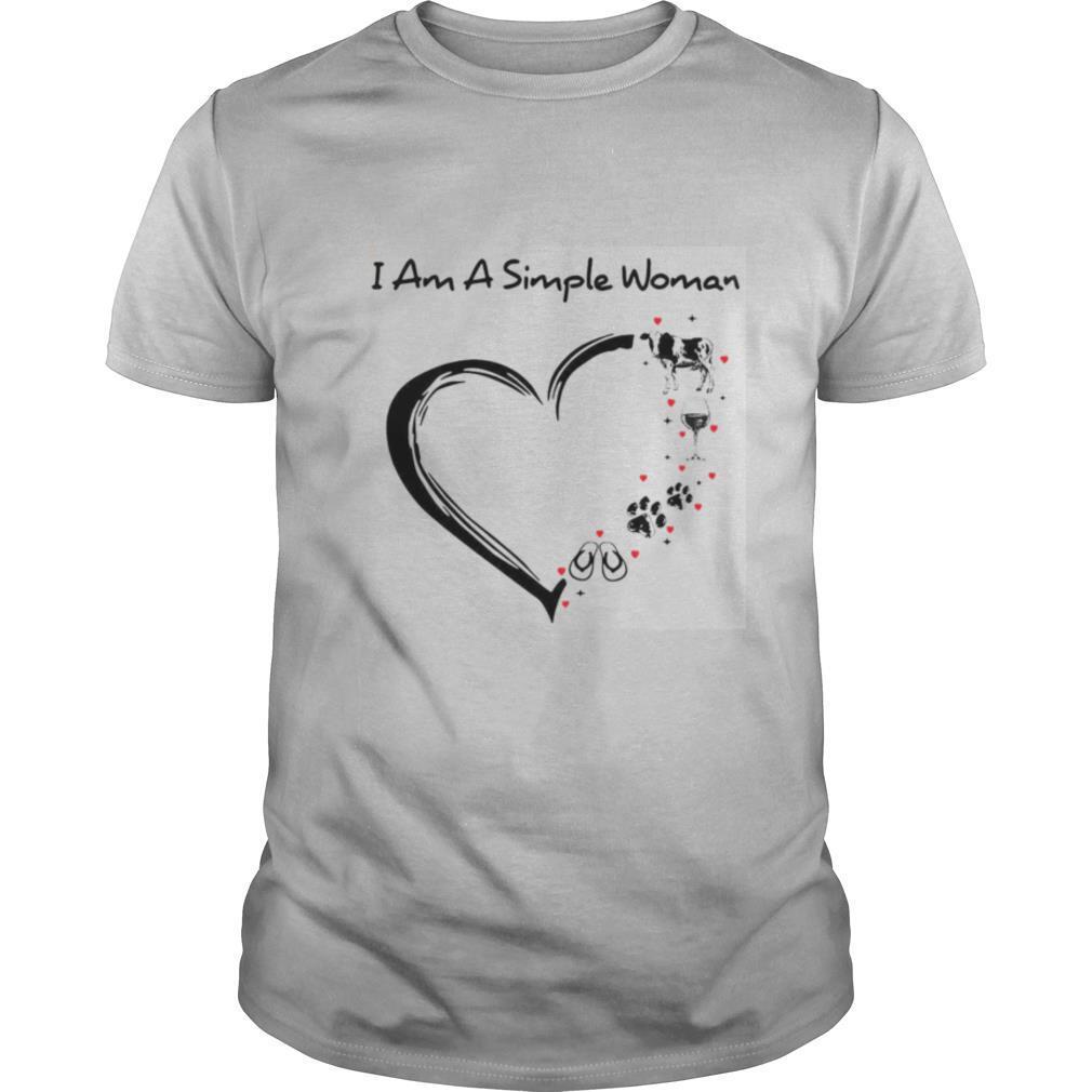 I Am A Simple Woman Cow Wine Dog Flip Flop shirt Classic Men's