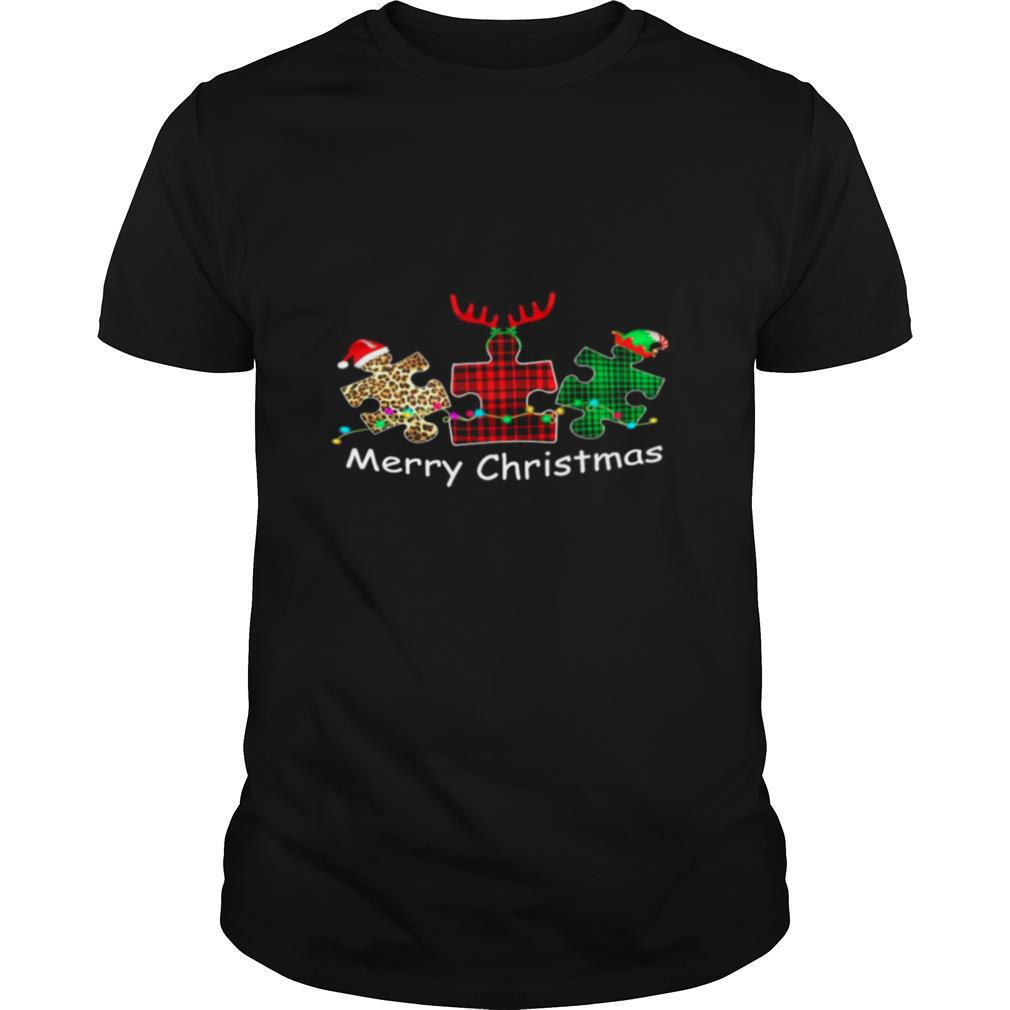 Autism Santa Reindeer Elf Merry Christmas shirt Classic Men's
