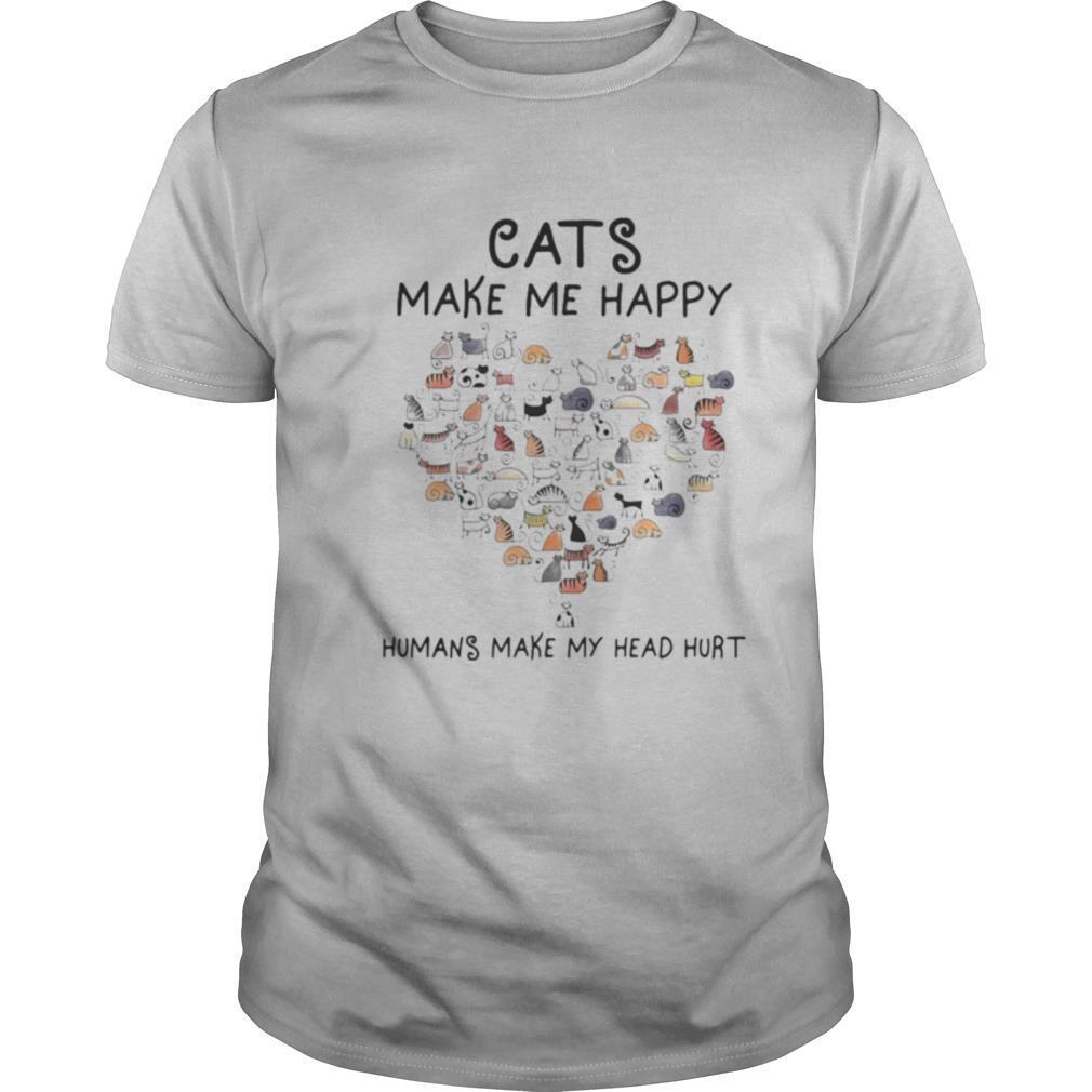 Cats Make Me Happy Humans Make My Head Hurt Heart Cat shirt Classic Men's