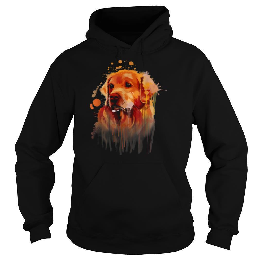 golden retriever painting dog art print shirt