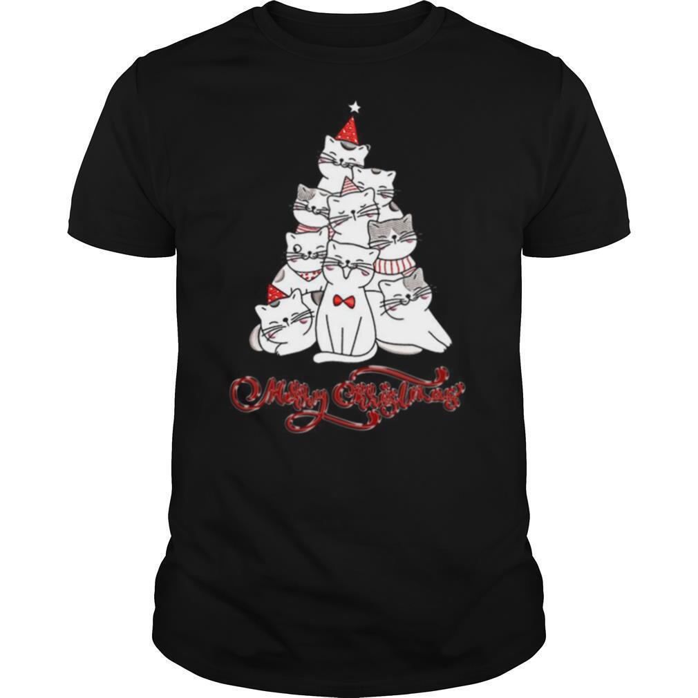 Cats Merry Christmas Tree shirt Classic Men's