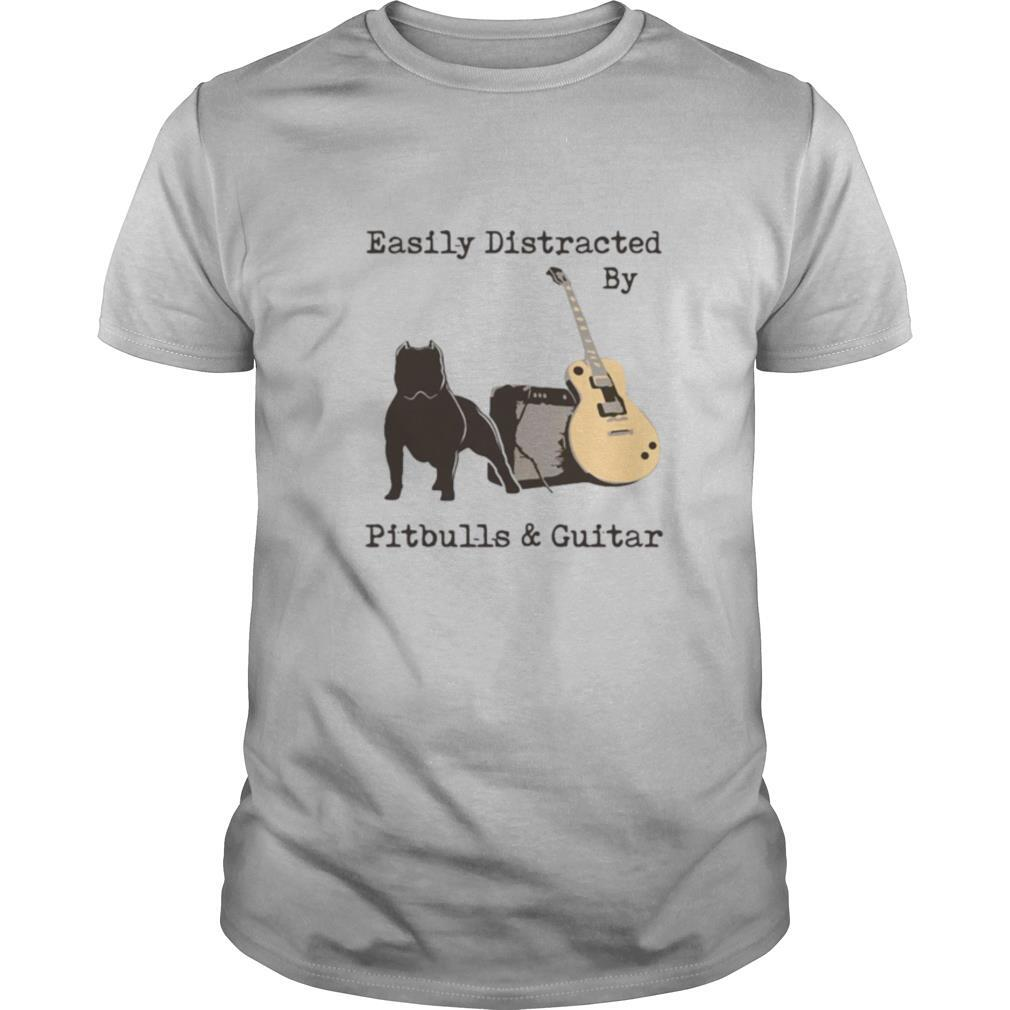 Easily Distracted By Pitbulls And Guitar shirt Classic Men's