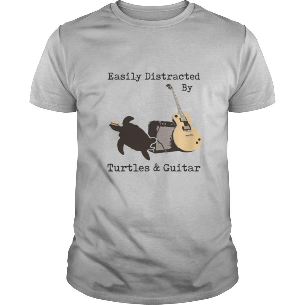 Easily Distracted By Turtles And Guitar shirt Classic Men's