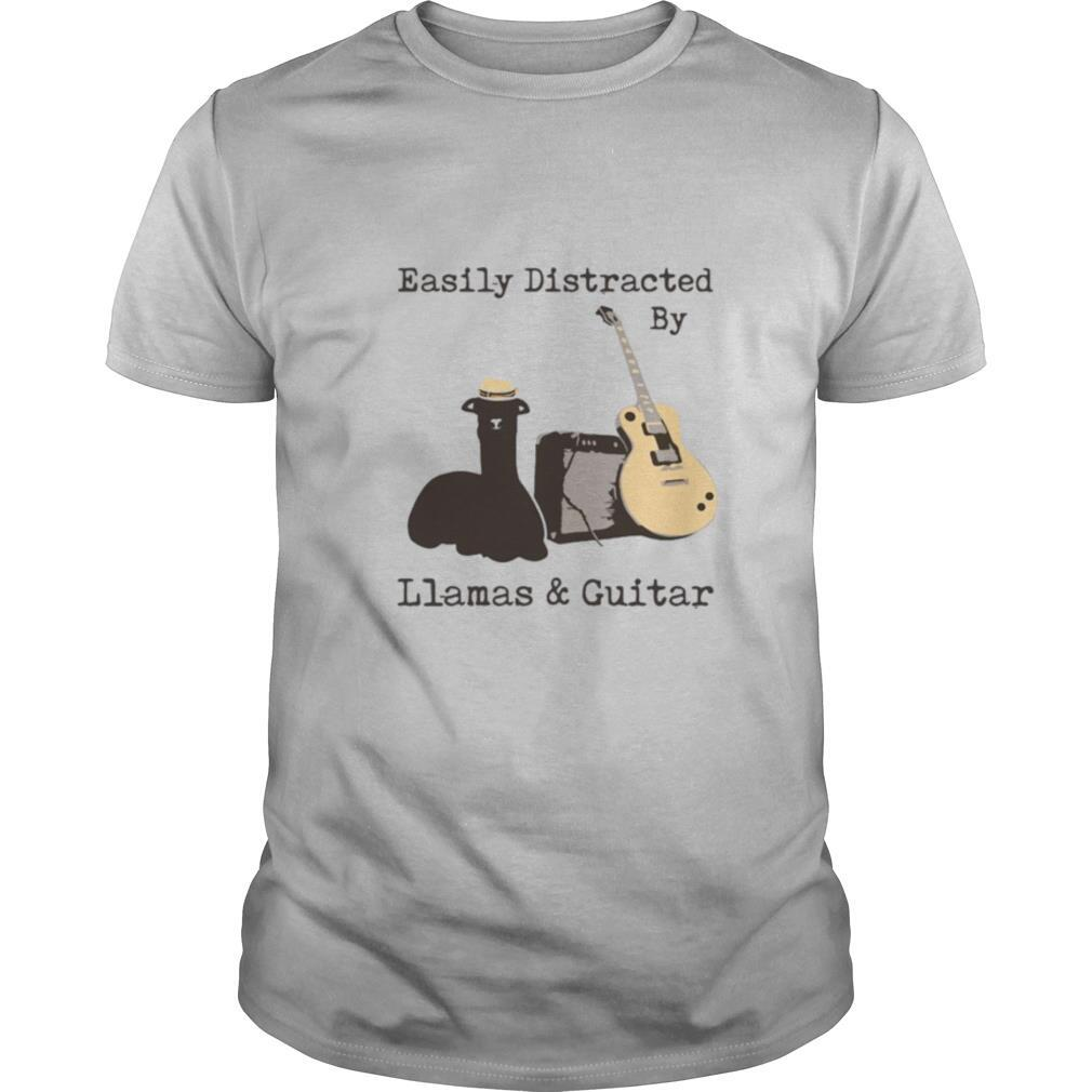Easily Distracted By Wine Llamas And Guitar shirt Classic Men's