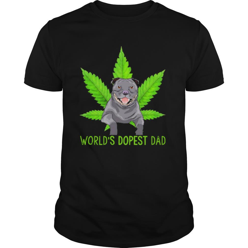 Great Weed Pitbull Worlds Dopest Dad shirt Classic Men's