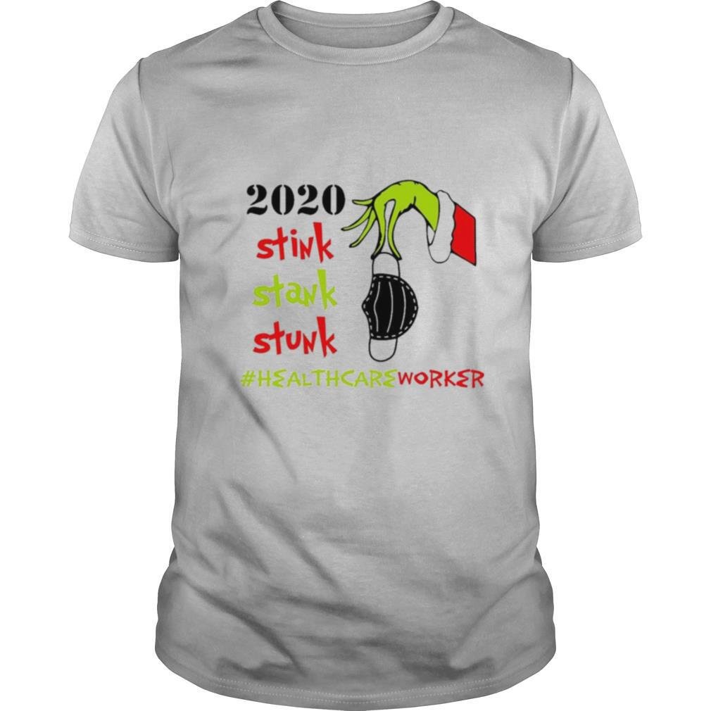 Grinch hand holding face mask 2020 Stink Stank Stunk Healthcareworker Christmas shirt Classic Men's