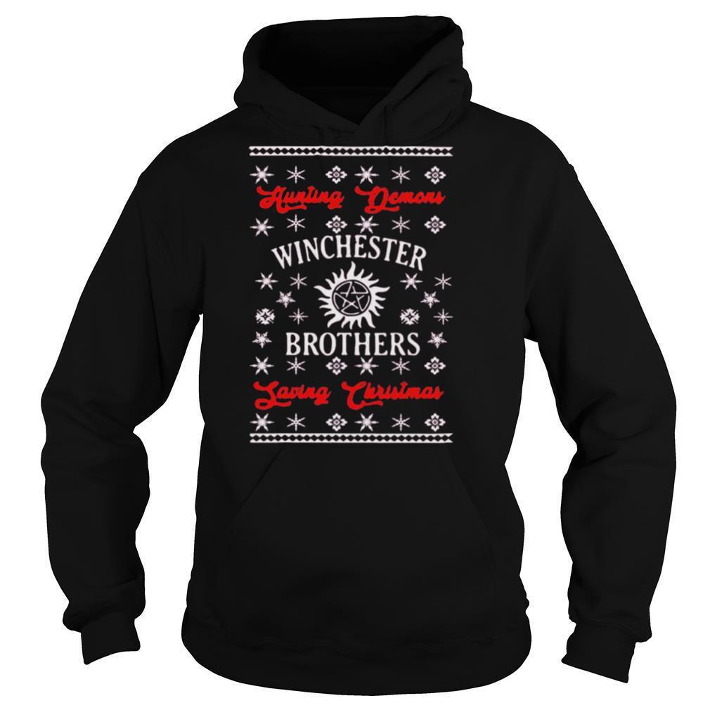 supernatural hunting demons winchester brothers saving christmas shirt