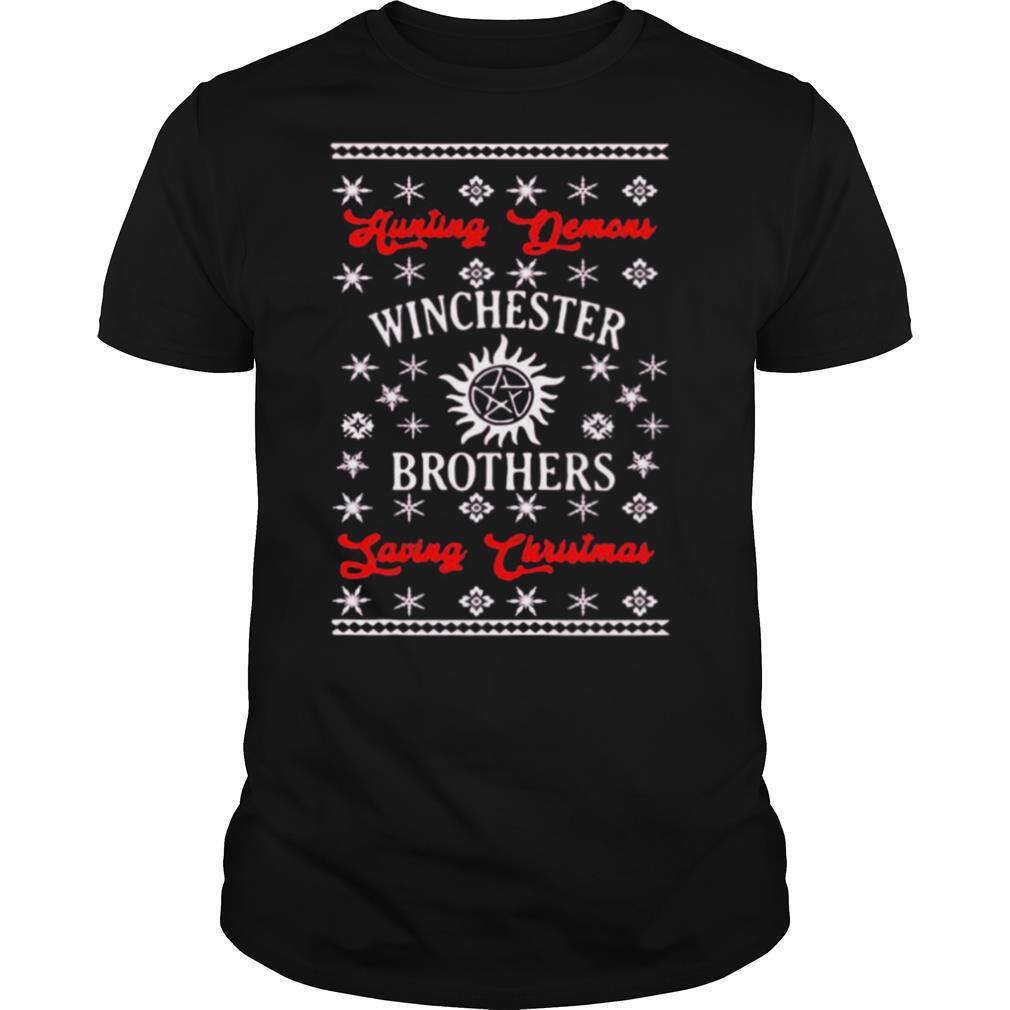 Supernatural hunting demons winchester brothers saving christmas shirt Classic Men's
